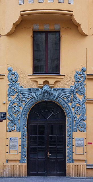Riga door -Riga, Meistaru iela, 10. The well-known house with cats on a roof. Besides cats, there there are also unusual doors