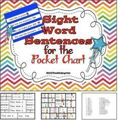 sight words sentences for the pocket chart