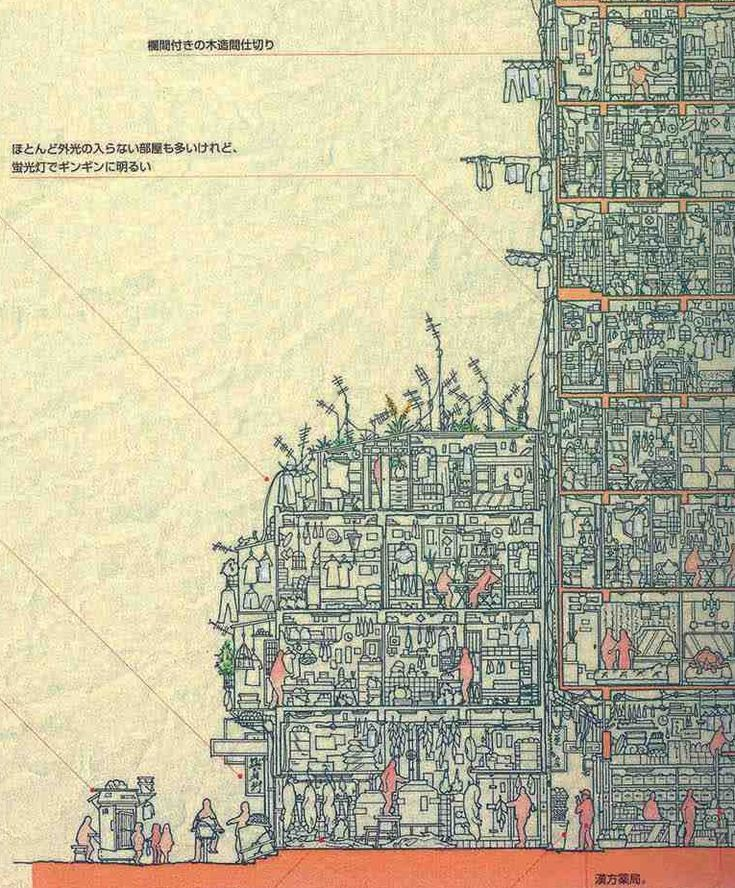 Detailed Cross-section of the Kowloon Walled City Created by Japanese Researchers