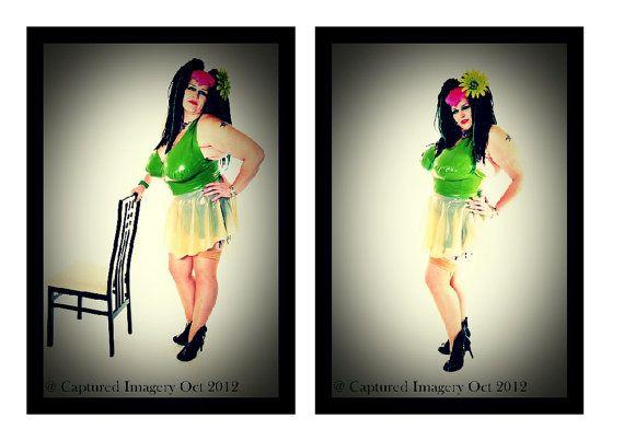 Phoenixx Designs * Griselda Dress * Plus size BBW Uk Dress size 14 16 18 20 22 24 26 Green & Transparent Latex Dress