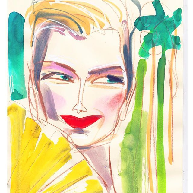 Tilda goes Coco❤️Cuba #watercolor #tilda #tildaswinton #coco #chanel #cocochanel #karl #karllagerfeld #art #artist #artwork #artoftheday #ink #draw #drawing #illustrator #illustration #fashionillustration #fashionista #fashionart #chanelcruise #cococubano #cococuba #quicksketch #sketch