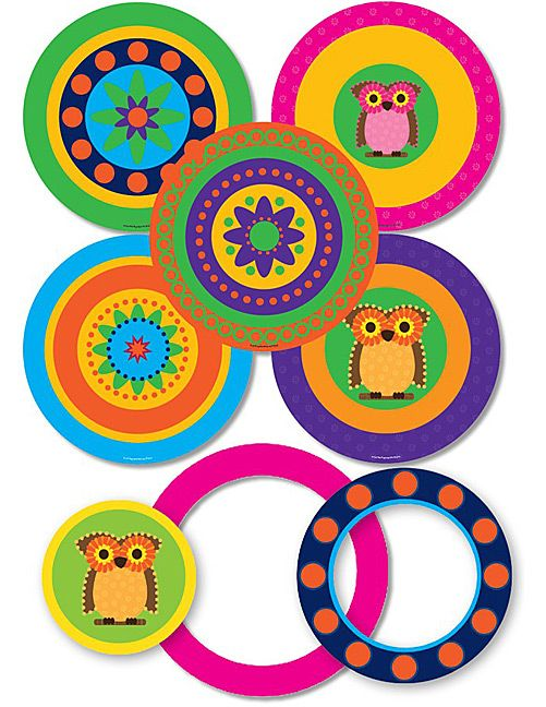 Mod Circles with Owls Pop-Outs
