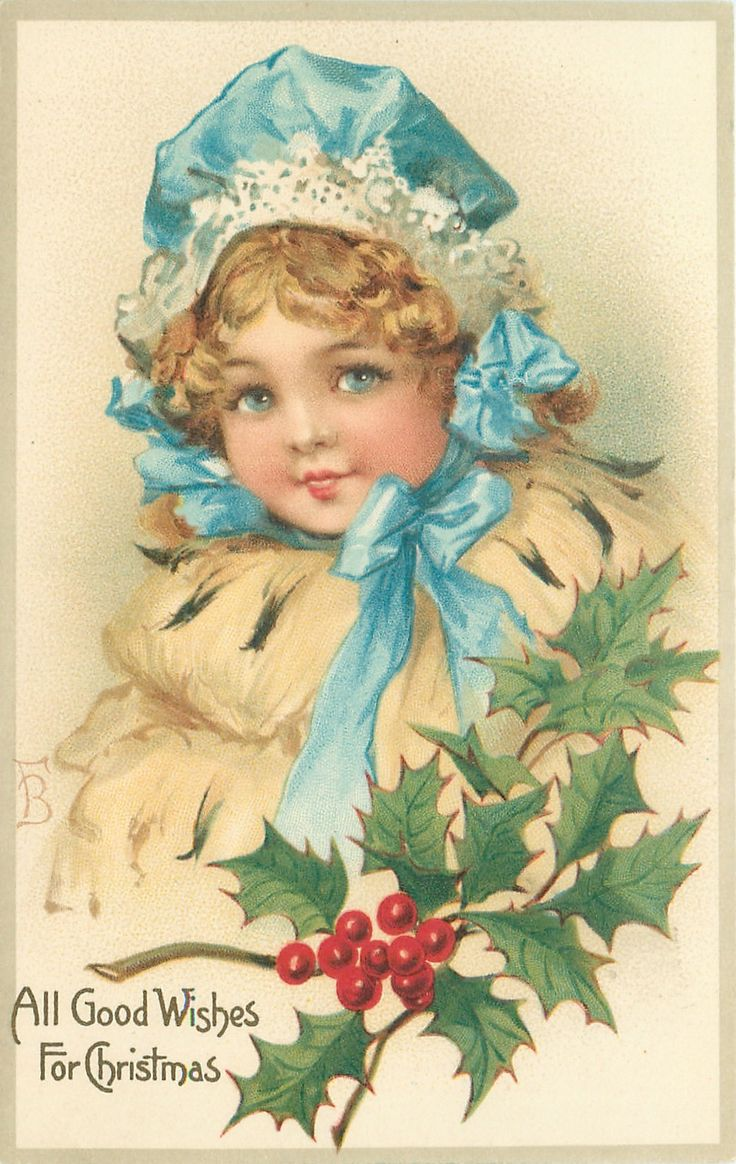 ALL GOOD WISHES FOR CHRISTMAS  head & shoulders of girl in cream fur coat & blue bonnet, holly below