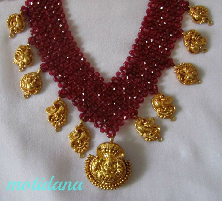 Mahalakshmi necklace in rubies and gold