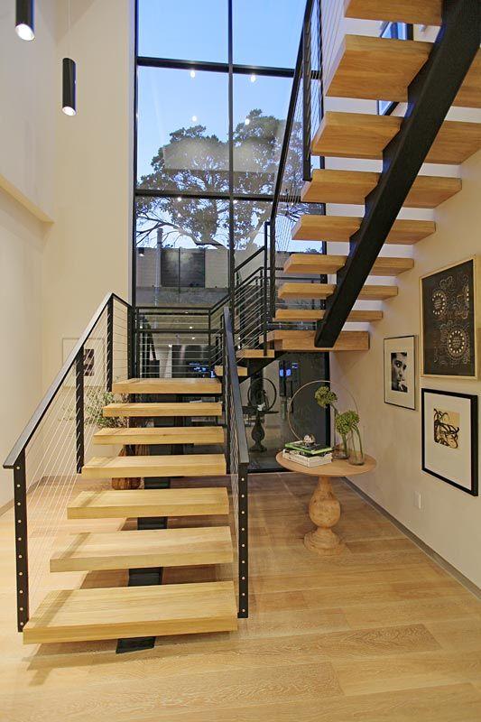 Wood with black metallic rails