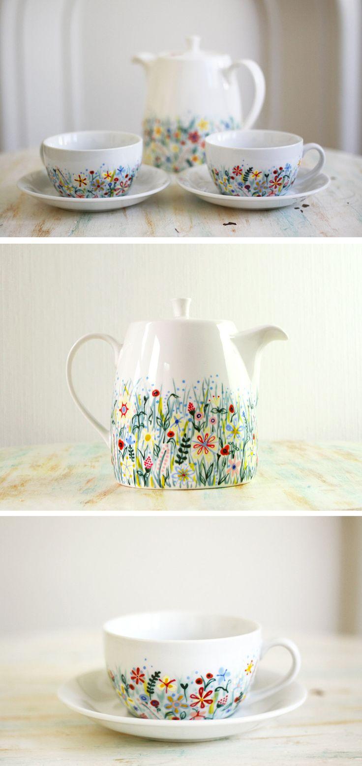 Painted ceramics by roootree   wildflower painting   wildflower   flower pattern   porcelain patterns