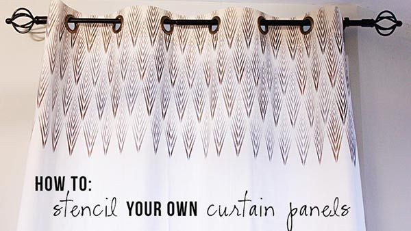 Stencil Curtain Panels:  These modern and elegant curtains look expensive, but you can make them on the cheap with plain curtain panels, a cool stencil, paint and grommets. Here's a #DIY tutorial for these stenciled curtain panels: http://livewelln.co/1cM9cPK