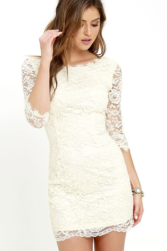 You won't just be memorable ... you'll be unforgettable in the Make an Impression Cream Lace Dress! Lovely eyelash lace overlay tops a cream knit lining, creating a bateau neckline, darted bodice, and sheer, three-quarter sleeves. Bodycon skirt ends with a sheer hem. Hidden back zipper/hook clasp.