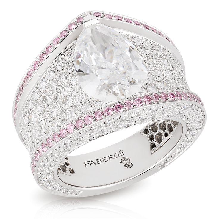 Sarafan Diamond Ring, white gold with white diamonds edged with pink diamonds - striking