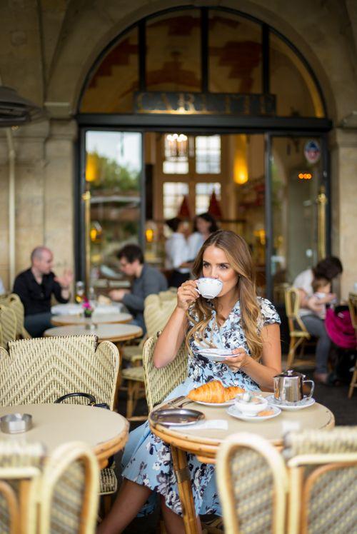 Sipping tea in Paris, wearing my Lela Rose dress