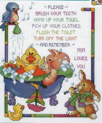 Cross Stitch I made for the kids Bathroom