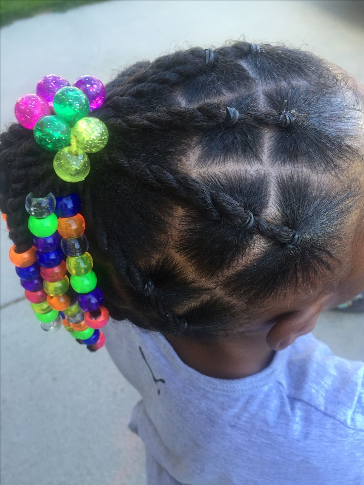 Girls natural hair protective style ponytail beads
