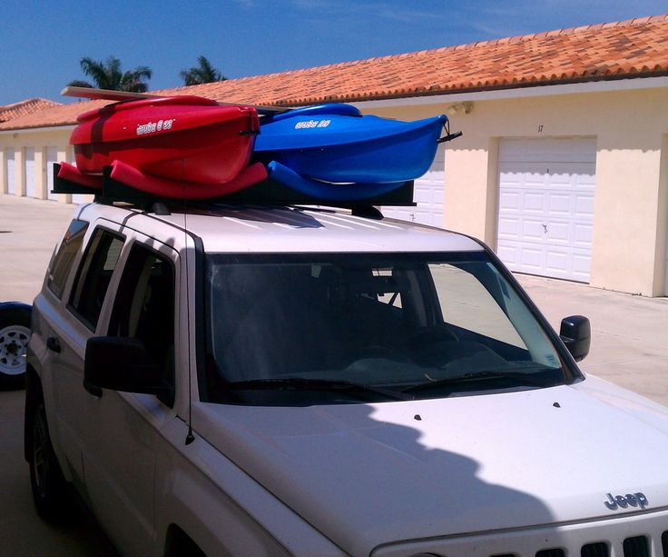 "If you have kayaks and a car with roof racks, here's a simple and economical solution to get your yaks to the water and back without having to spend big bucks on a rack from Thule' ... I have just finished an RV trip of 4,000 miles where I towed my Jeep with my two kayaks strapped to this rack and sometimes drove the Jeep at 60+ MPH with the ""yaks"" strapped on too... Bill of Materials includes; 3   - 1X6X8' Pine board 2   - 1X3X8' Pine board 2   - ..."