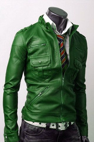 Real Leather Handmade Mens Green Slim Fit Jacket - etsy - comes in so many colors, would make a good gift