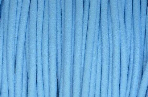 Cordon/Lacet de Cuir Supérieur, Rond de 1° qualité - 2mm diamètre - Bleu ciel - Cristaldesign