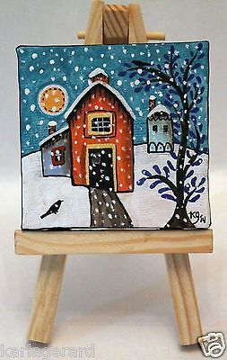 Winter Barn 2 1/2 x 2 1/2 inches ORIGINAL PAINTING & EASEL FOLK ART Karla G...Brand new mini painting with easel...now for sale..