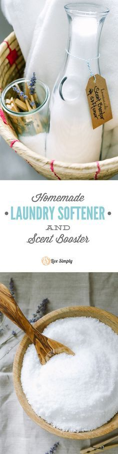 A two-ingredient, homemade fabric softener and scent booster. This stuff is super cheap to make and completely natural.  livesimply.me/...
