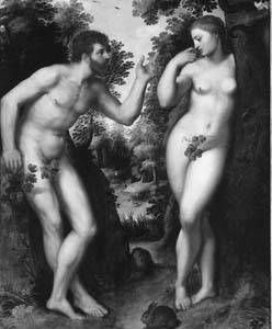 Hebrew creation myth. I do find it interesting that often Eve and Adam are painted/depicted with a belly button.