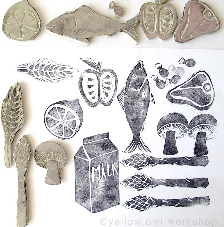 hand carved stamps-- cool to do a collaborative art project if everyone carves and prints an edition of their own blocks, then share to create a large collaborative piece? Collection grows over the years.