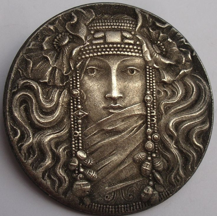 Antique Pewter Button  (Stunning Lady Figure Design, 1940 Antique Picture Buttons, Deco Nouveau Collectible)