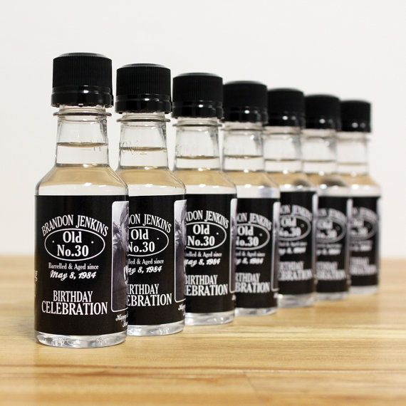 Custom Mini Bottle Favors 30th Birthday by LiquidCourage on Etsy