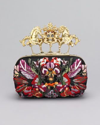 Embroidered Unicorn & Skull-Clasp Clutch Bag by Alexander McQueen at Neiman Marcus.