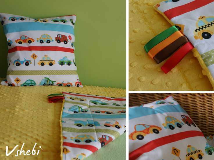 This cars printed and yellow minky blanket is perfect for every baby boy. Pillow Cover Included. Back of the pillow cover is turquoise. Dimensions of the blanket: 90 x 75cm / 35,4' x 29,5' Dimensions of the pillow cover: 40 x 40cm / 15,7' x 15,7' Our blanket can be a great addition to your nursery bedding. It's perfect as warm, cosy stroller blanket to comfort your child during cool, autumn days.