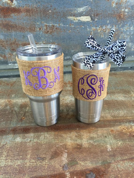 This is my original photo and item! I have designed this product, and take pride in hand making each one. **This is the dark burlap listing*** click here to see the light burlap listing: https://www.etsy.com/listing/251902652/yeti-tumbler-yeti-tumbler-decal-yeti?ref=shop_home_active_1  This listing is for one custom cup cover for your YETI. Not that the YETI needs any help keeping things hot or cold, but it could use a little personalization to make it uniquely y...