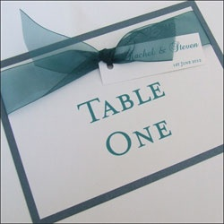 Table Numbers or Names with Organza Ribbon and Tag £2.50