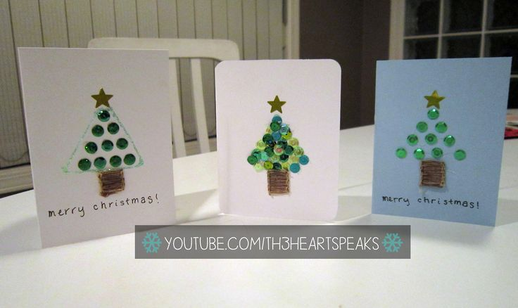 Three cute and easy tree cards that anyone can make!   #th3heartspeaks #diycards #christmas #holiday Tutorial on https://www.youtube.com/watch?v=E5rCtKH4VQo