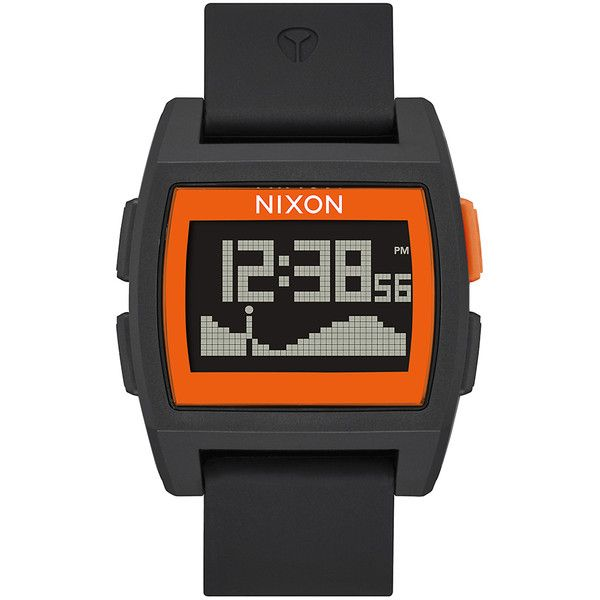Nixon Base Tide Watch (160 CAD) ❤ liked on Polyvore featuring jewelry, watches, accessories, women, stainless steel watches, stainless steel chronograph watch, digital wrist watch, orange jewelry and chronograph watch