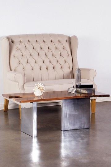 Walnut and aluminum coffee table