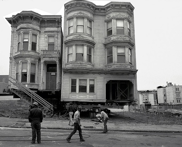 House Movers, San Francisco  Ellis between Scott and Divisadero, San Francisco: part of a series documenting house movers in San Francisco's Western Addition in the 1970's.  Photograph taken 1977