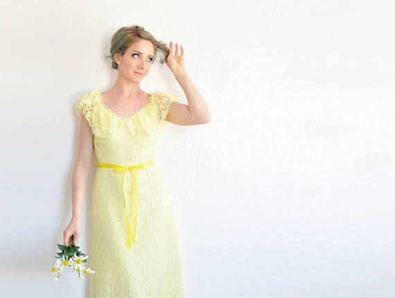 sheer lemon yellow 1970 maxi dress . bohemian bridesmaid gown