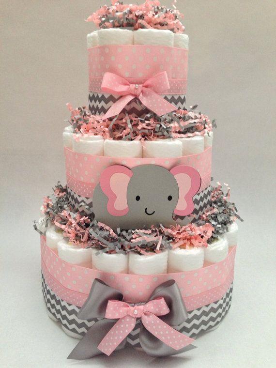 Pastel de pañal rosa y gris  Elefante del pañal Cake Nuevo