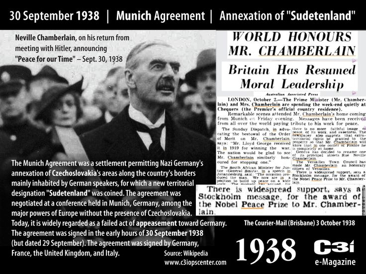 """30 September 1938 – Munich Agreement – """"Peace for our Time"""""""