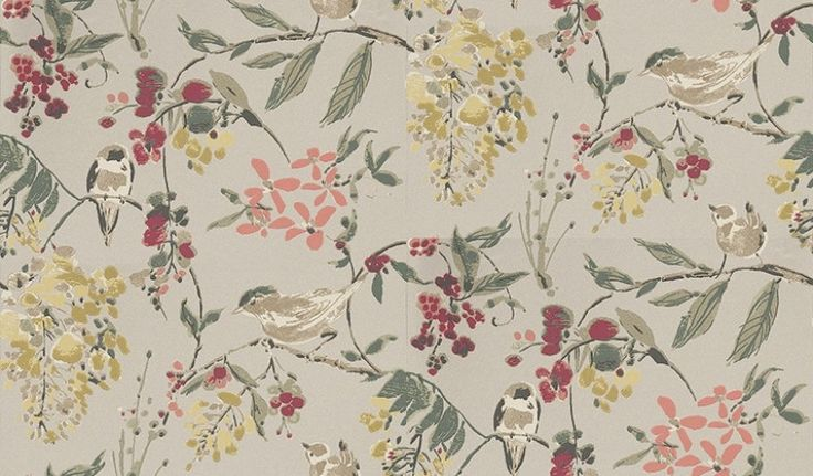 Penglai Charcoal, Sage and Coral (NCW4182-02) - Nina Campbell Wallpapers - Inspired by Chinese ink wash paintings, and named after an ancient legend set in the garden, this wallcovering offers a glimpse of informality in the Imperial Garden. Birds play cheerfully amongst blossom laden branches. Shown here in coral, sage and apple green on a metallic charcoal background. Other colourways are available. Please request a sample for a true colour match.