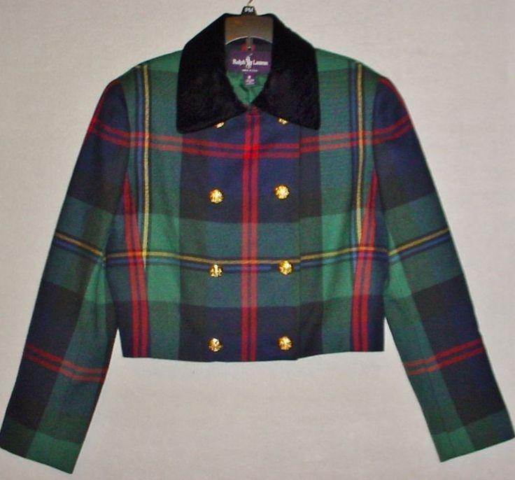 Vtg RALPH LAUREN Ladies 8 Wool Cropped Tartan Plaid Christmas Jacket w/Velvet #RalphLauren #CroppedJacket