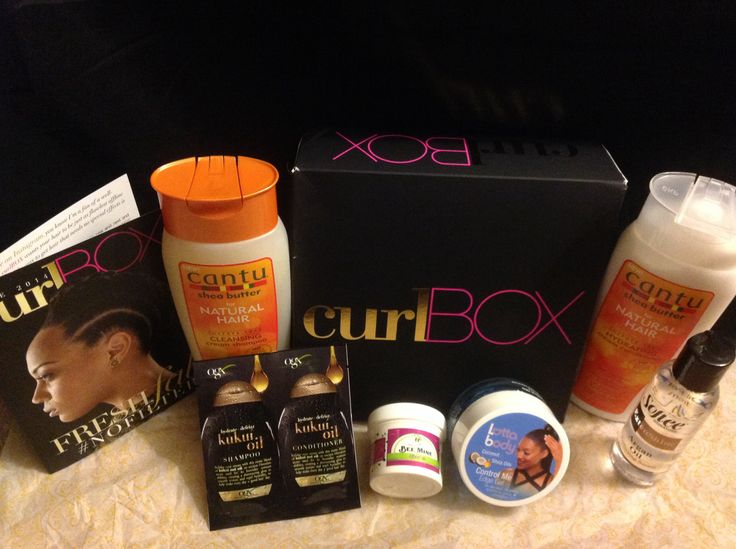 My 1st Curl Box ~ June 2014                       Very pleased with the contents: Cantu Sulfate Free Cream Shampoo & Conditioner; Lotta Body Control Me Edge Gel; Softee Argan Oil Serum; Bee Mine Balanced Cream Moisturizer; and  Ogx Kukui  Oil Sulfate Free Shampoo & Conditioner Sample Packets