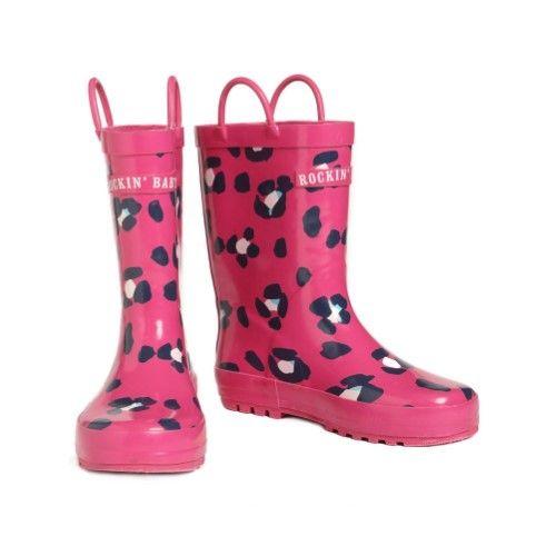 Rockin' Baby Little Girls Pink Animal Print Splashin' Wellies 6 Toddler, Toddler Girl's
