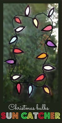 A bright and cheerful sun catcher made to look like Christmas light bulbs. Great for home or a classroom window.