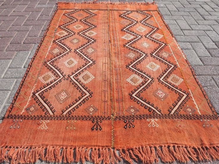 "Small Turkish Kilim Rug,Small Orange Rug,Tapis 42,1""x65,3"" Area Rug,Small Carpet #AntalyaKelim #Turkish"