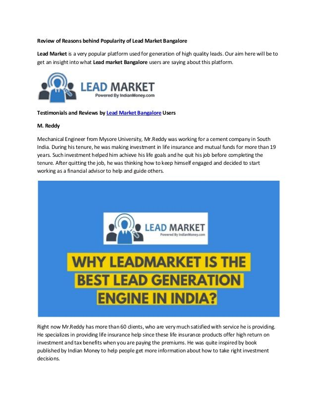 Lead Market Is A Very Popular Platform Used For Generation Of High