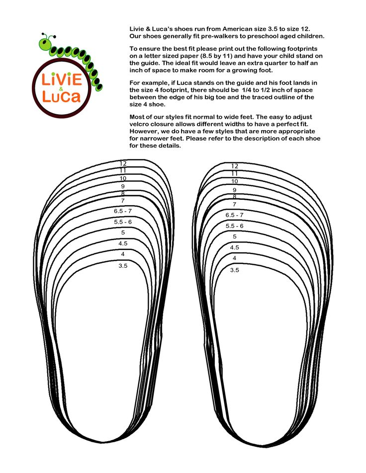 Printable Youth Shoe Size Chart | Livie _ Luca's shoes run from American size 3.5 to size 12. Our