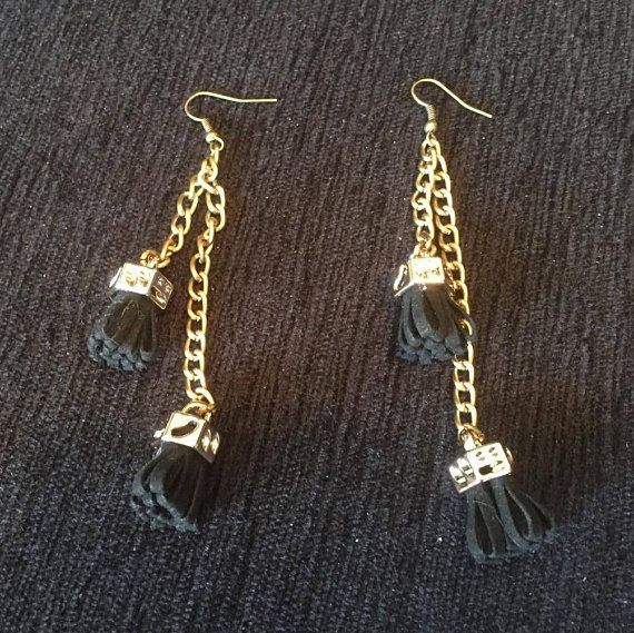 Handmade Leather tassel earrings with chain Ethnic jewelry