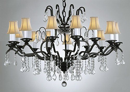 Swarovski Crystal Trimmed Chandelier Wrought Iron Crystal – Crystal Chandelier with Shades