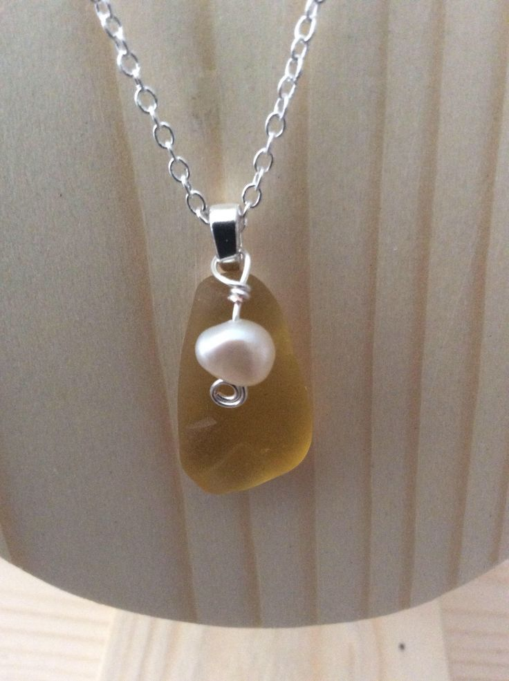 Rare Yellow Sea Glass With Pearl Necklace by JNsArtnTreasures on Etsy https://www.etsy.com/listing/550984082/rare-yellow-sea-glass-with-pearl