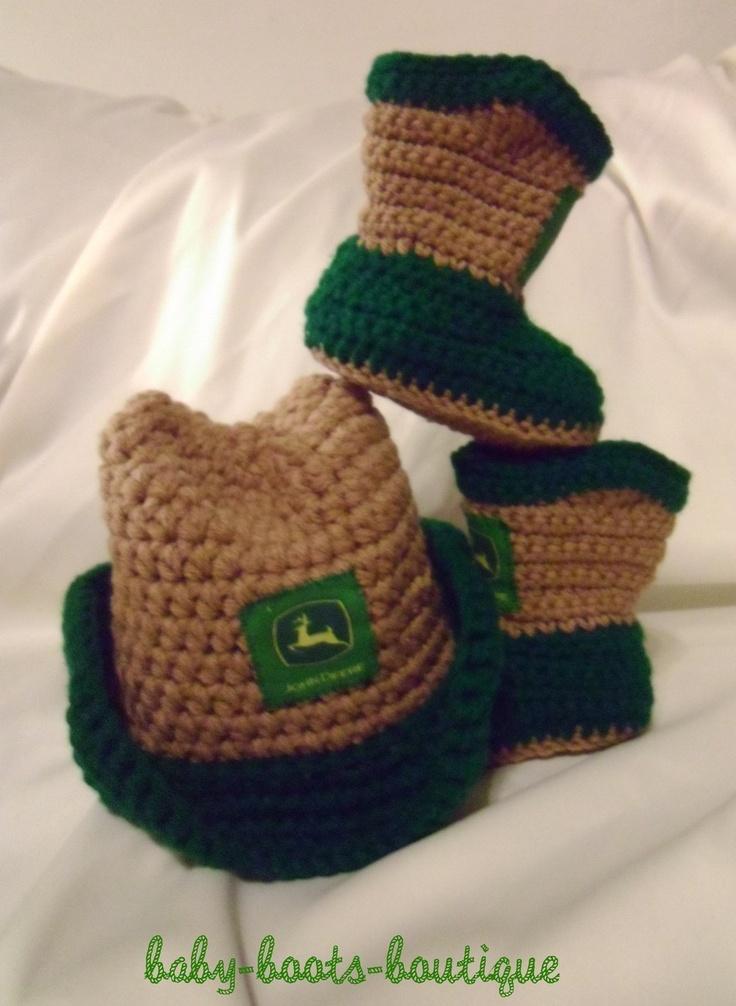 Deere Infant Hat Crochet Pattern : BOYS JOHN DEERE COWBOY HAT & BOOTIES--PROFESSIONALLY HAND ...