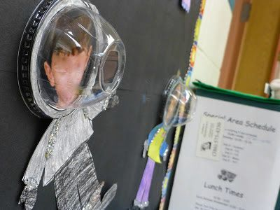 Use student pictures and slurpee cup lids to make an astronaut helmet! Love this idea for a space themed bulletin board!
