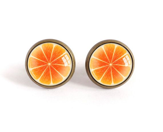 Orange stud earrings, fruit image glass cabochon post earrings, summer trend…